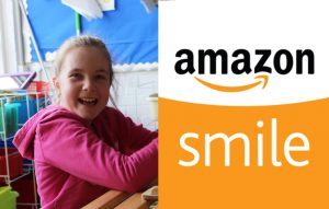 Girl smiling and AmazonSmile logo