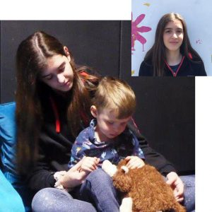 Henar with a child in the Sensory Room