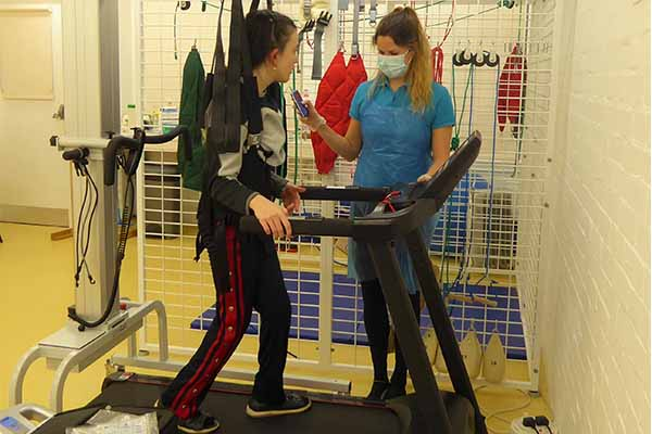 Girl in LiteGait on Treadmill - Physiotherapy
