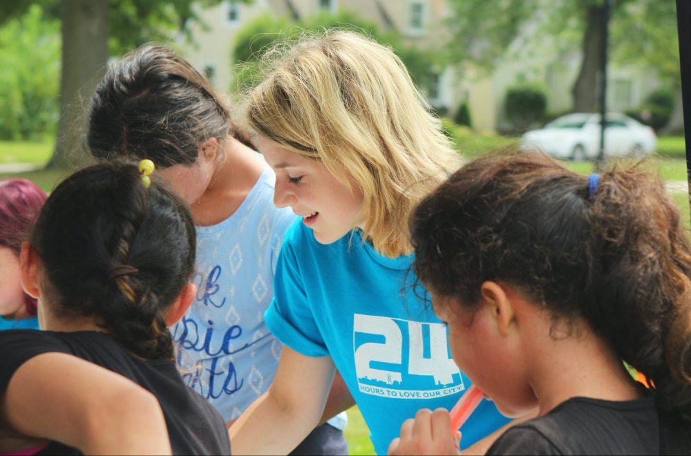 Group of girls volunteering