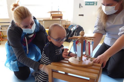 Boy with mum and therapist in assessment