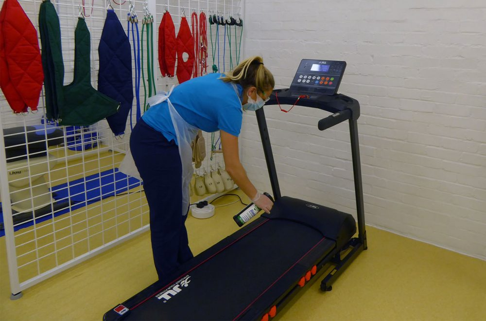 Physiotherapist cleaning treadmill